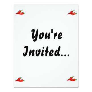 Two Red Chili Peppers on Side Invitations