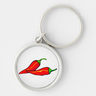 Two Red Chili Peppers on Side Silver-Colored Round Key Ring