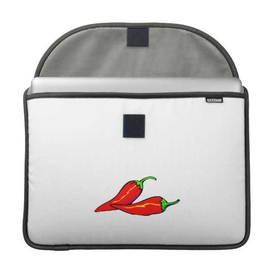 Two Red Chilli Peppers on Side Sleeve For MacBook Pro