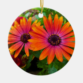 Two red flowers with added texture christmas ornament