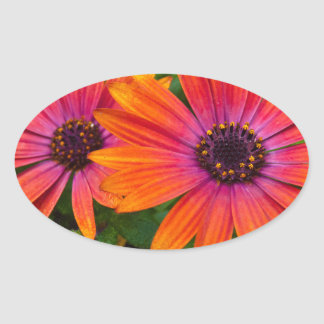 Two red flowers with added texture oval sticker