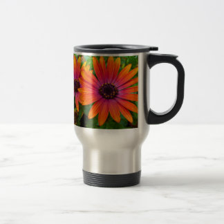 Two red flowers with added texture stainless steel travel mug