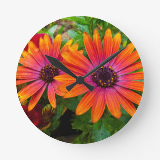 Two red flowers with added texture wall clock