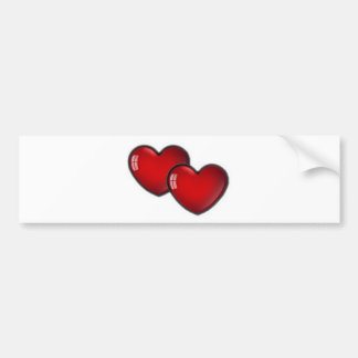Two Red Hearts Bumper Sticker