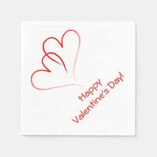 Two red hearts - Happy valentine's day! Paper Napkins