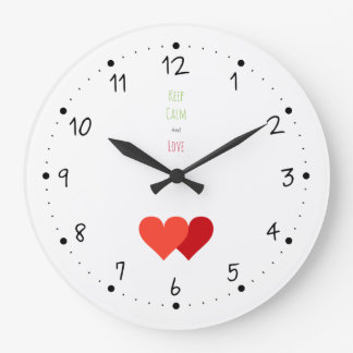 Two Red Hearts Large Clock