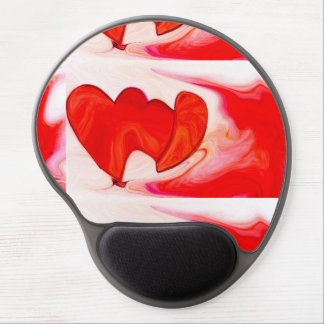 two red hearts together gel mouse mat