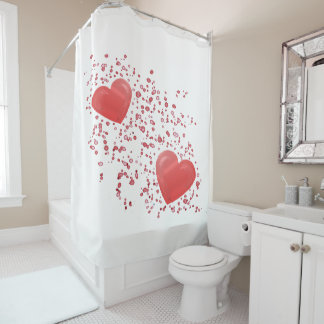 Two Red Hearts with Sparkles and Dots Shower Curtain