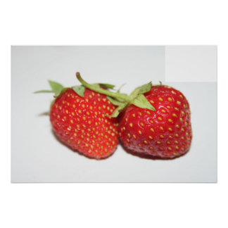 Two Red Juicy Strawberries Food Photography Print
