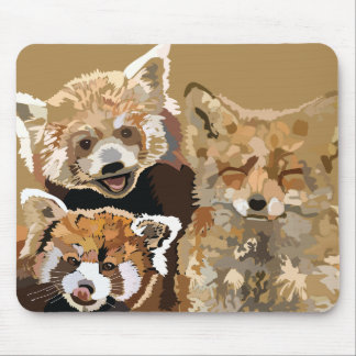 Two Red Pandas and a Red Fox mousepad