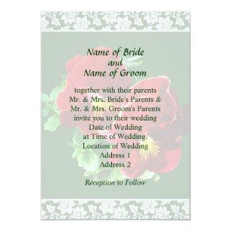 Two Red Pansies Wedding Invitation Set