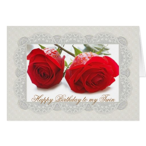 Two red roses Twin Birthday Card