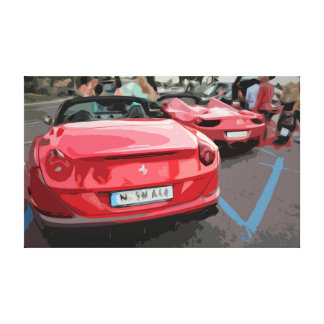 Two Red Sports Cars Displaying in Simple Design Canvas Print