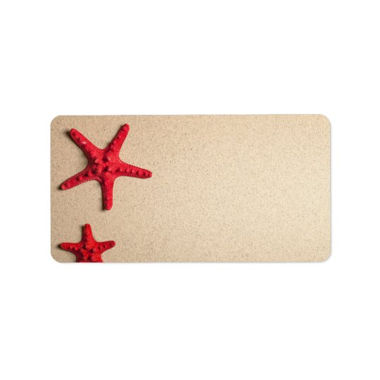 Two Red Starfish On Beach Background Address Label