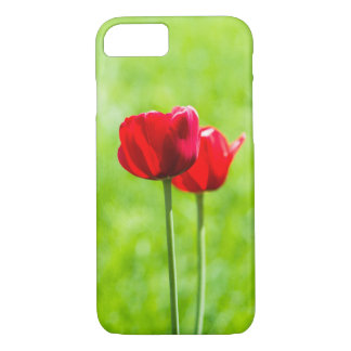 Two red tulip flowers iPhone 7 case