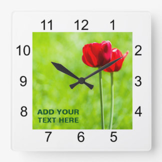 Two red tulip flowers wall clock