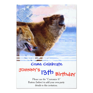 Two red wolves painting 13 cm x 18 cm invitation card