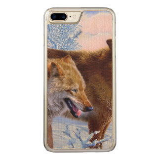 Two red wolves painting carved iPhone 8 plus/7 plus case
