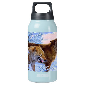 Two red wolves painting insulated water bottle