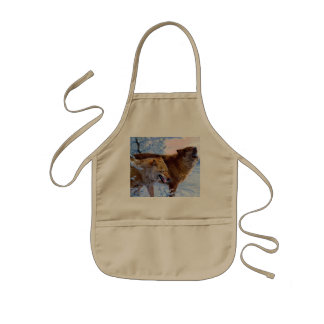 Two red wolves painting kids apron