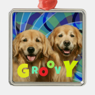 Two Retro Golden Retriever Dogs Psychedelic Groovy Christmas Ornament