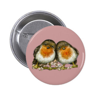 two robins 6 cm round badge