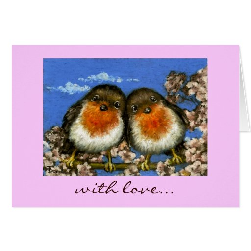 two robins love card