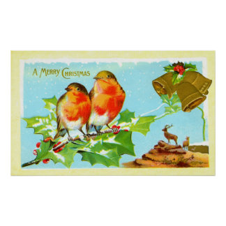 Two robins on holly poster