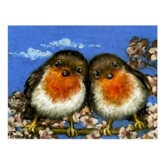 Two robins postcards by Tanya Bond