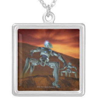Two Robots Silver Plated Necklace