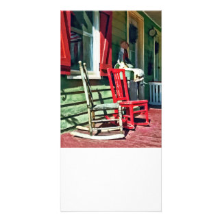 Two Rocking Chairs on Porch Personalized Photo Card