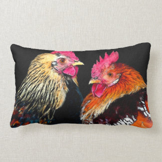 """""""Two roosters"""" design decorative pillow"""