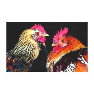 Two Roosters on the black background canvas print