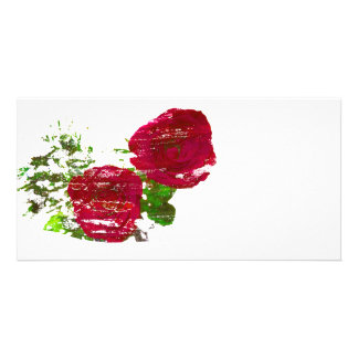 two roses grunged graphic photo card