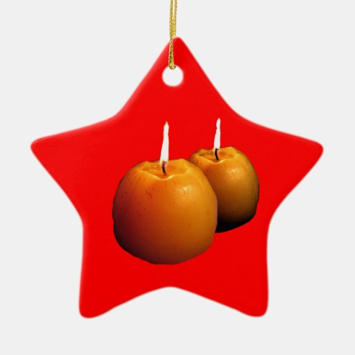 Two round candles Christmas Ornament
