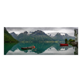 Two rowboats with reflection in a Norwegian lake Photo Print