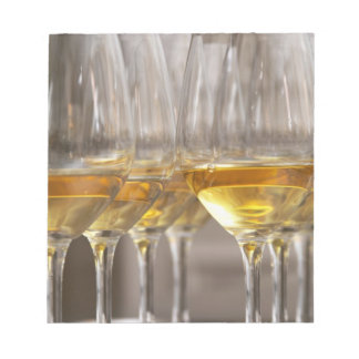 two rows of wine tasting glasses with lucious notepad
