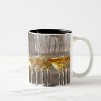 two rows of wine tasting glasses with lucious Two-Tone coffee mug