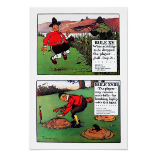 Two Rules Of Golf - Vintage Golf Print