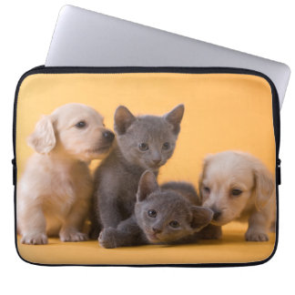 Two Russian Blue Kittens And Two Dachshund Puppies Laptop Sleeve