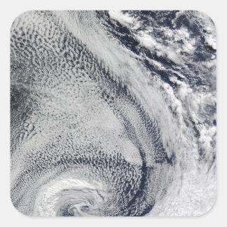 Two S-Shaped Polar Hurricanes Square Sticker