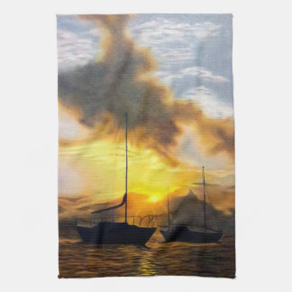 Two Sailboats in a Beautiful Sunset Hand Towels