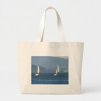 Two Sailboats on San Francisco Bay Jumbo Tote Bag