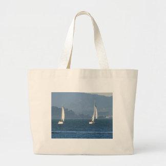 Two Sailboats on San Francisco Bay Jumbo Tote Bag