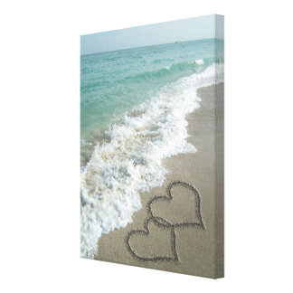 Two Sand Hearts on the Beach, Romantic Ocean Canvas Prints