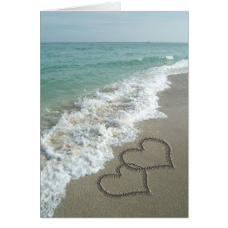 Two Sand Hearts on the Beach Romantic Ocean Cards