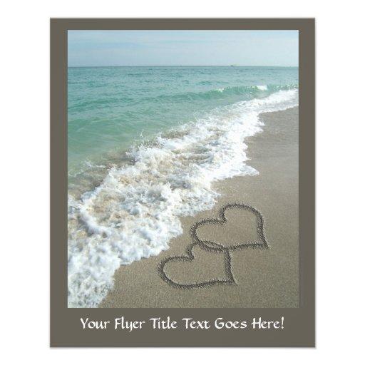 Two Sand Hearts on the Beach, Romantic Ocean Flyer Design