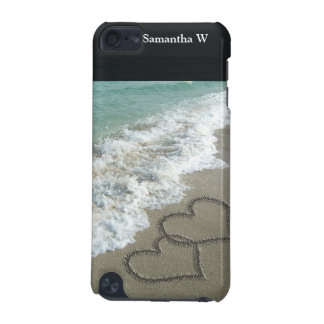 Two Sand Hearts on the Beach, Romantic Ocean iPod Touch 5G Cover
