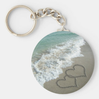 Two Sand Hearts on the Beach Romantic Ocean Key Chain