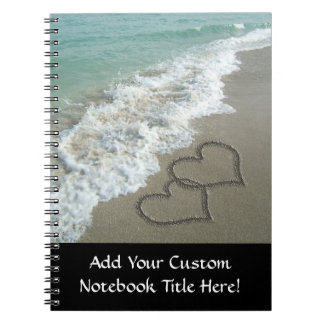 Two Sand Hearts on the Beach, Romantic Ocean Note Book